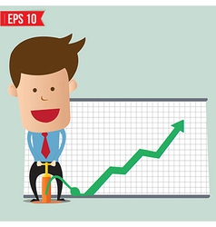 Cartoon business man pump graph - - eps10 vector