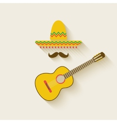 Mexican sombrero and guitar vector image