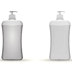 Gray dispenser pump bottles mock up vector