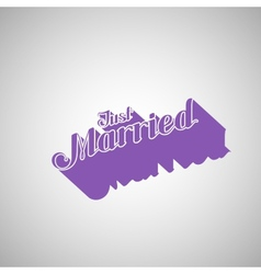Just married retro label vector
