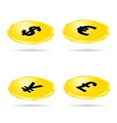 coin set money gold vector image