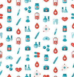 Seamless texture with flat medical icons endless vector