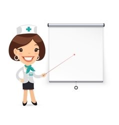 Lady doctor with laser pointer presenting vector