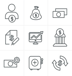 Line Icons Style Finance icon set vector image