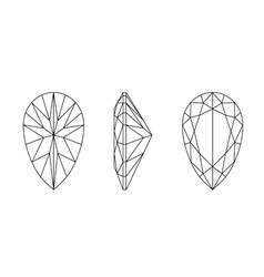 Pear shape gemstone wire frame vector
