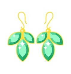 Emerald earrings beautiful gold accessory isolated vector image