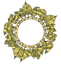 round frame of leaves vector image