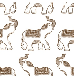 Pattern with hand drawn elephants vector
