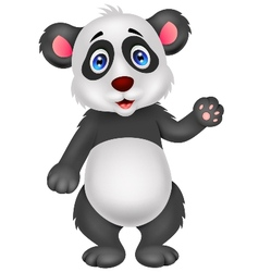 Baby panda cartoon waving hand vector image vector image