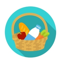 Basket with products icon in flat style isolated vector image