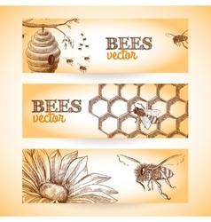 Bee banner sketch vector