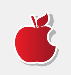 bite apple sign new year reddish icon vector image vector image
