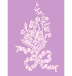 Bouquet of flowers with a bow vector image vector image