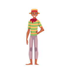 Brazilian man in straw hat traditional festa vector