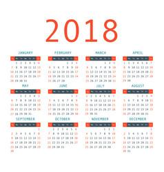 Calendar 2018 year simple style vector