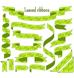 Cartoon stripped ribbons with leaves vector