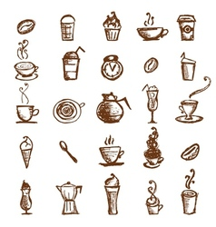 Coffee sketch design elements vector image vector image