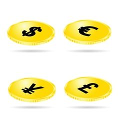 coin set money gold vector image vector image