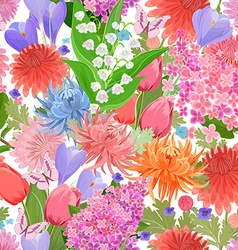colorful seamless texture with spring flowers and vector image vector image