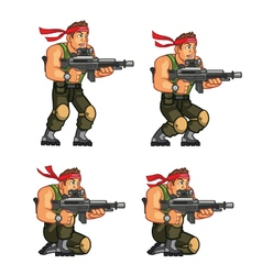Commando crouching game sprite vector