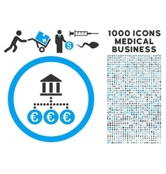 Euro Bank Transactions Icon with 1000 Medical vector image