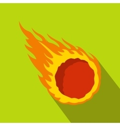 Falling meteor with long tail icon flat style vector