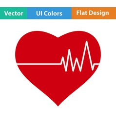 Flat design icon of heart with cardio diagram vector
