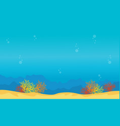 Landscape of reef on underwater style collection vector