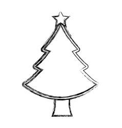Merry christmas pine tree vector