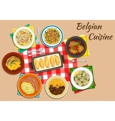 Original dishes of belgian cuisine vector image