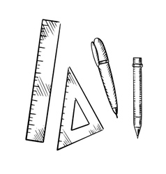 Pencil pen triangle and ruler sketch icons vector