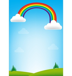 Rainbow and blue sky background vector image vector image