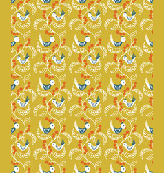 seamless pattern with berries leaves and birds vector image vector image