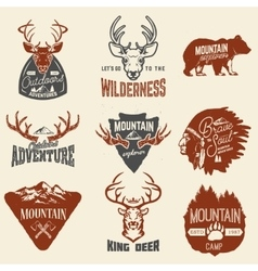 Set of outdoors adventures mountains exploration vector image vector image