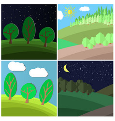 set of summer landscape vector image vector image