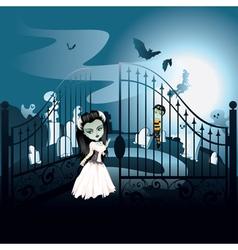 Spooky Halloween Cemetery2 vector image