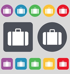 suitcase icon sign A set of 12 colored buttons vector image