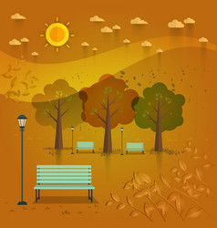 Summer day park natural landscape in the flat vector