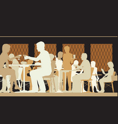 Toned restaurant scene vector