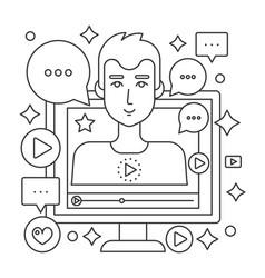 Video blogger thin line web concept computer vector
