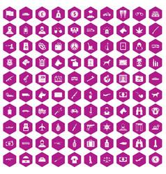 100 smuggling icons hexagon violet vector