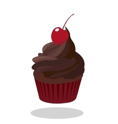 Cupcake with dark chocolate icing decorated and vector image
