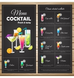 Menu classic alcohol cocktails vector