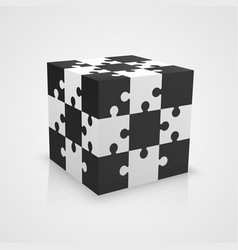 black and white puzzle cube vector image