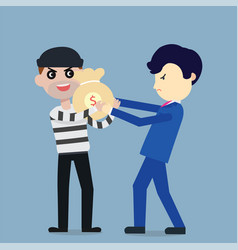 thief steal money from businessman flat cartoon vector image