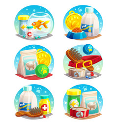pet shop compositions set vector image