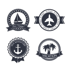 Vacations travel stickers set vector image