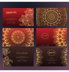 Mandalas business card 4 yoga vector