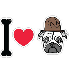 I love pug with old fashion military style vector