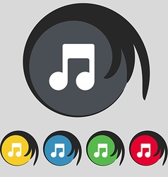 Music note icon sign symbol on five colored vector